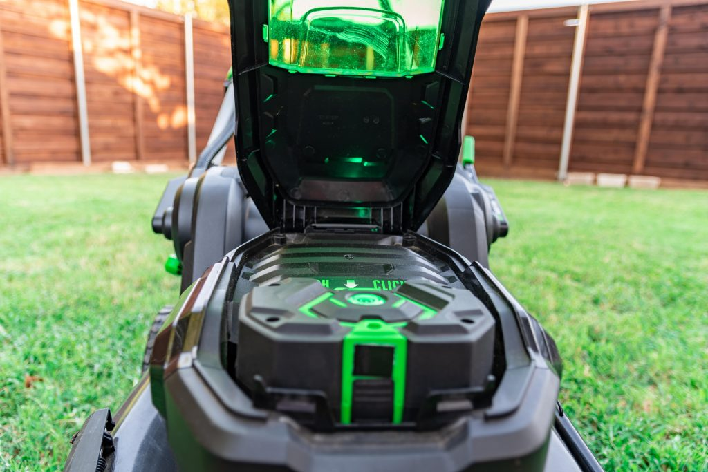 Cordless lawn mower battery.