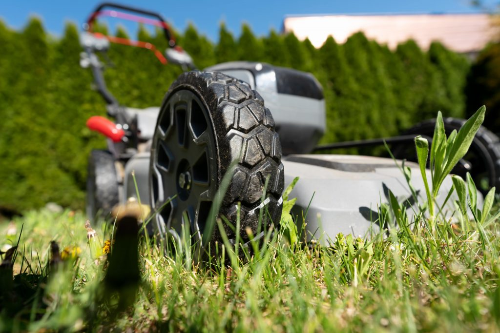 Close up of a cordless mower.