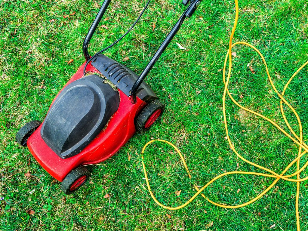 Corded rotary lawn mower on grass.