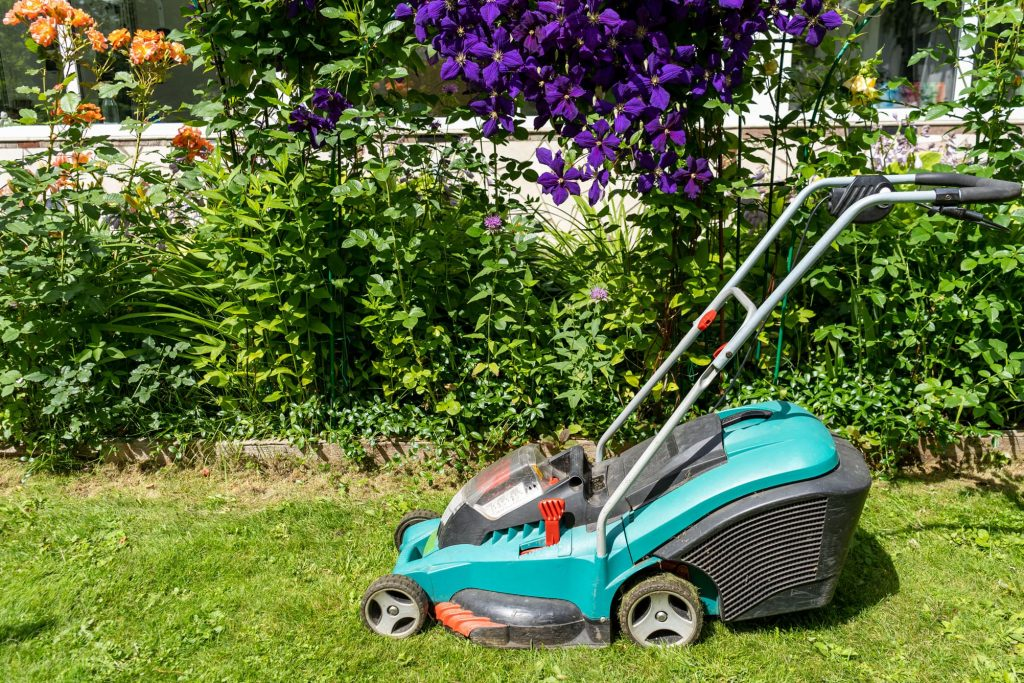 Cordless Bosch lawn mower.