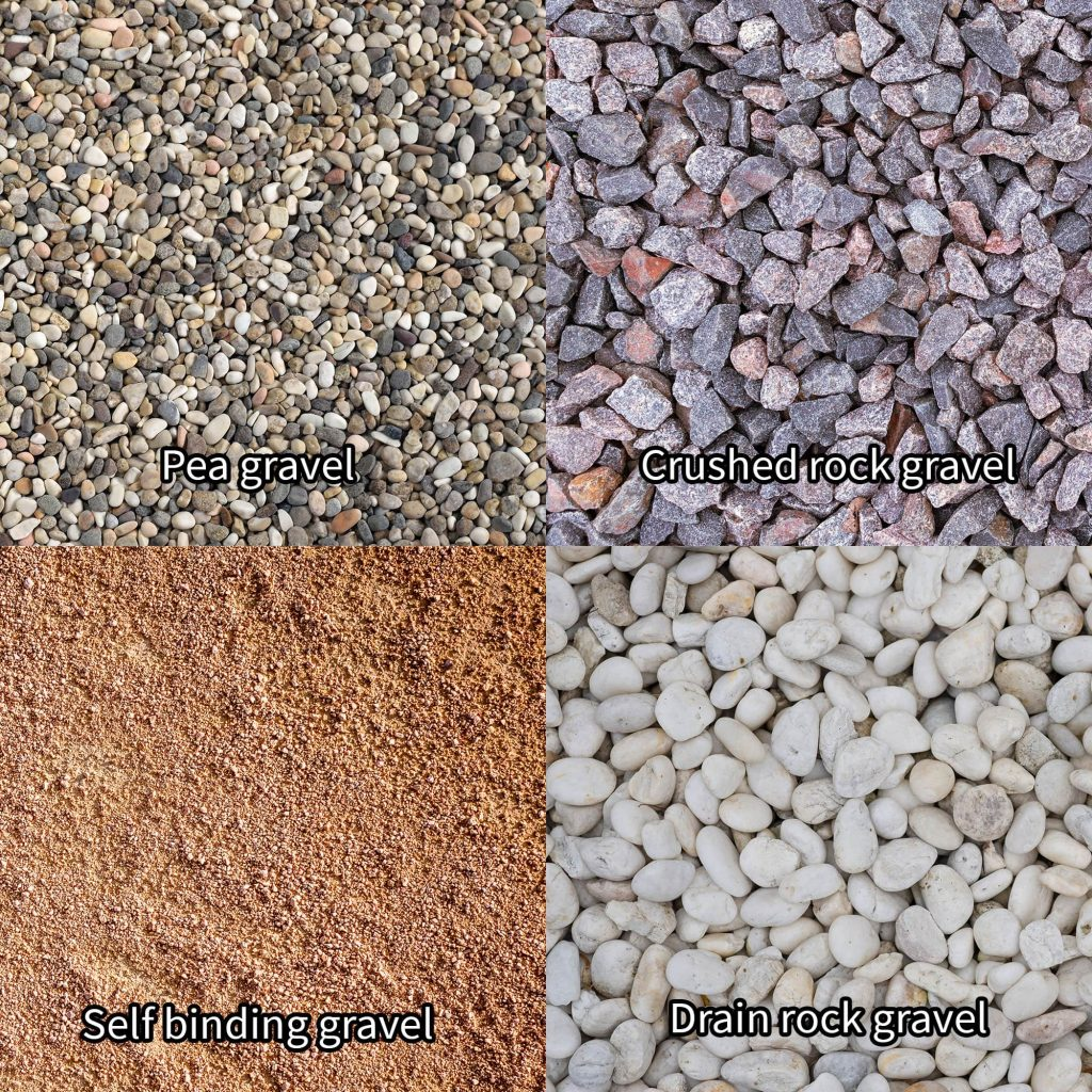Four different types of gravel.