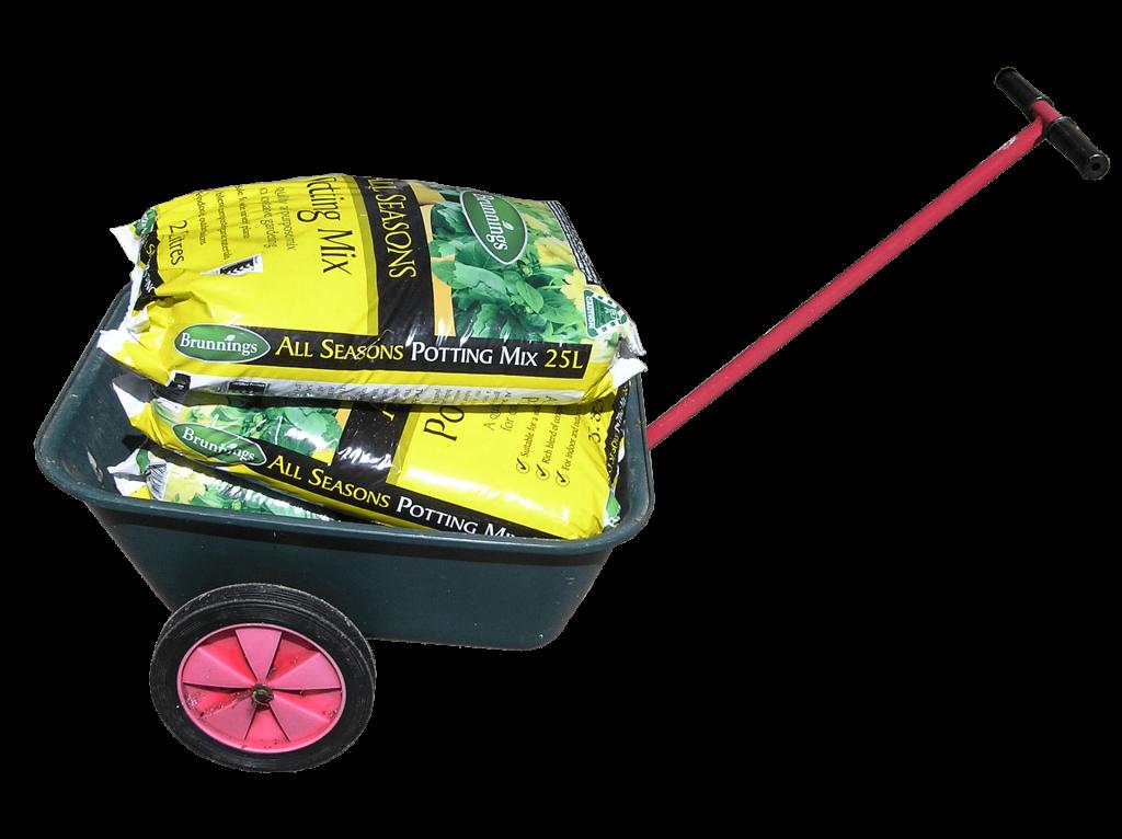 A garden cart, an example of a wheelbarrow with more than one wheel.