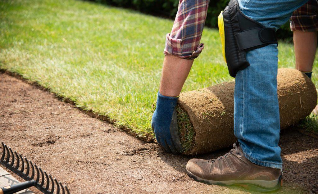 Man laying new turf on soil.