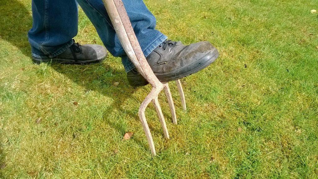 Man pushing a pitchfork into grass.