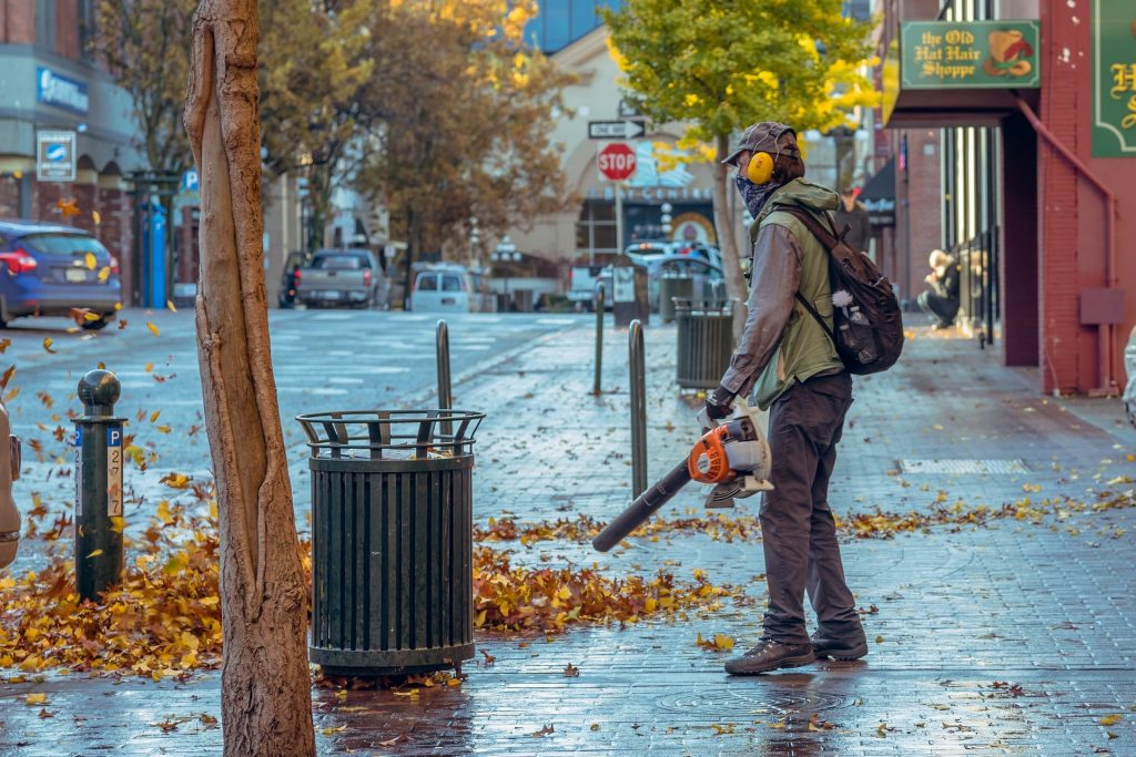 Man using a leaf blower to clear a path.