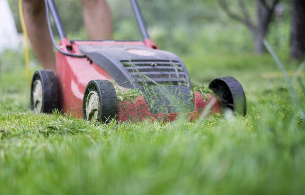Man using a lawn mower.