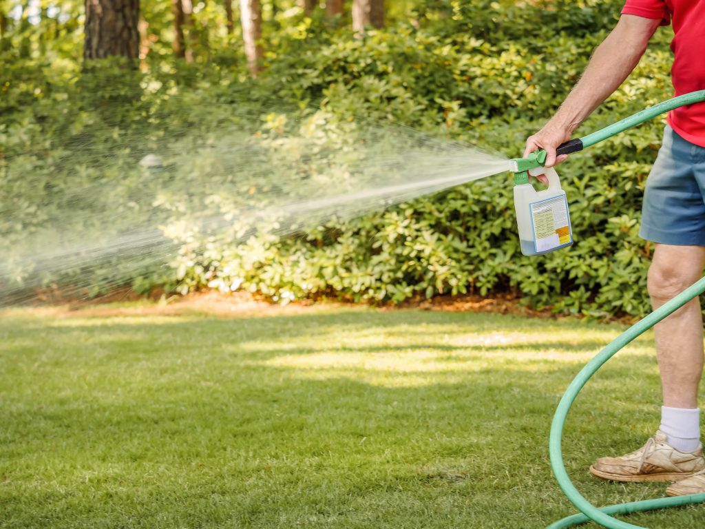 Man spraying grass with weedkiller.