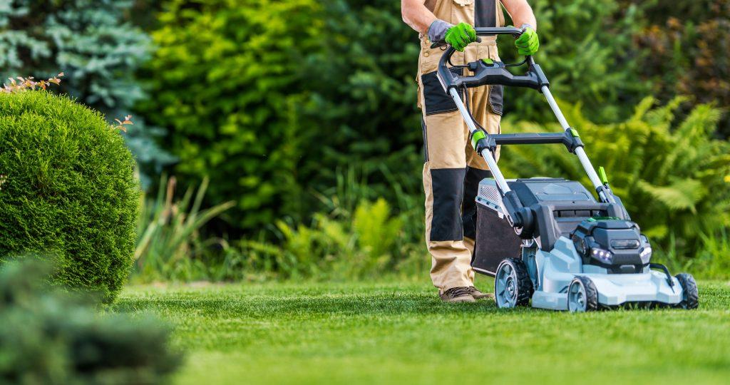 Man using a cordless electric lawn mower.