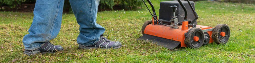 Man using a petrol lawn scarifier.